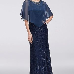 Navy long lace dress optional removal beaded cape